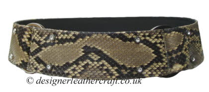 Wide Python Snakeskin Belt with Diamante and Silver Colour Rings